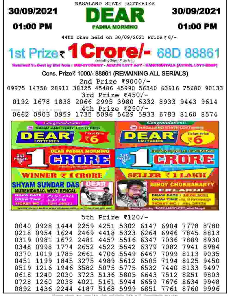 Lottery Sambad Result Today 30.9.2021 Check Out 1 Pm 6 Pm 8 Pm Winner Result Pdf